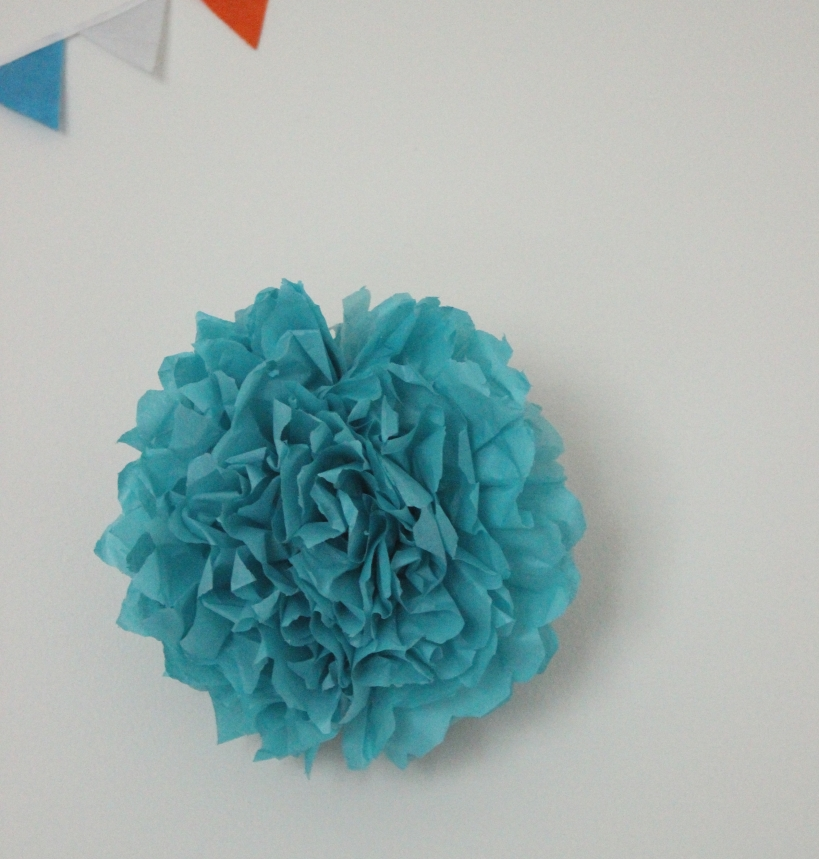 Blue tissue paper flower