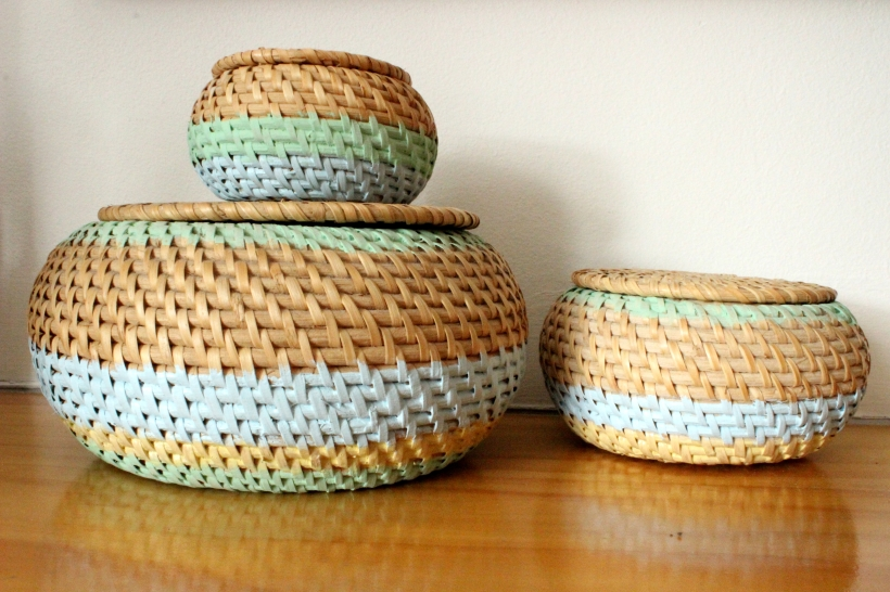 Painted wickers baskets