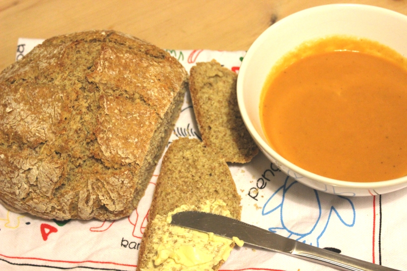 Home-made bread and soup - perfect combination