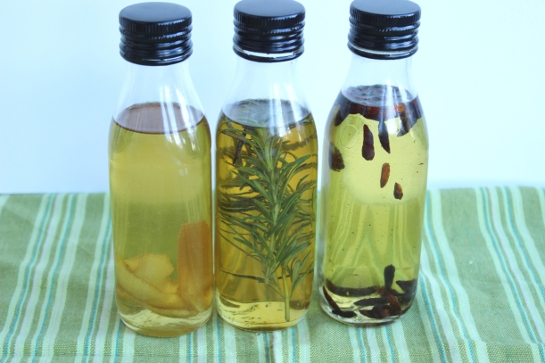 Lemon, rosemary and chilli oils