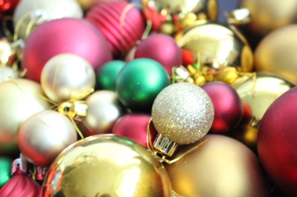 Selecting the baubles for the wreath