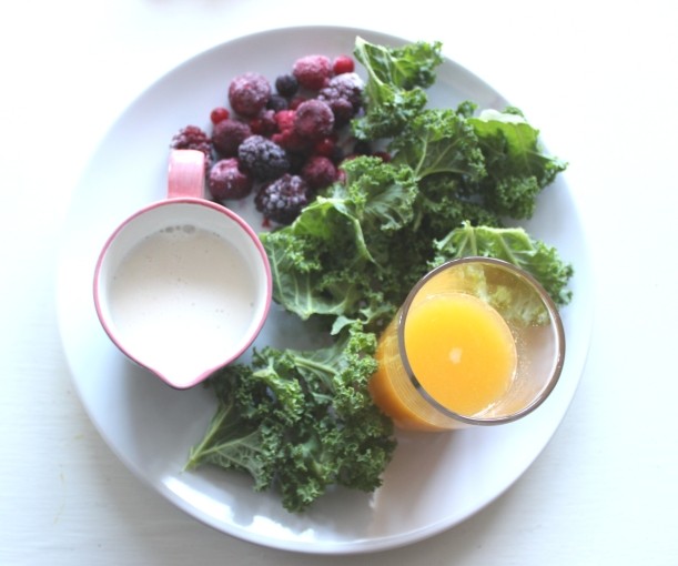 Ingredients for Kale and berry smoothie