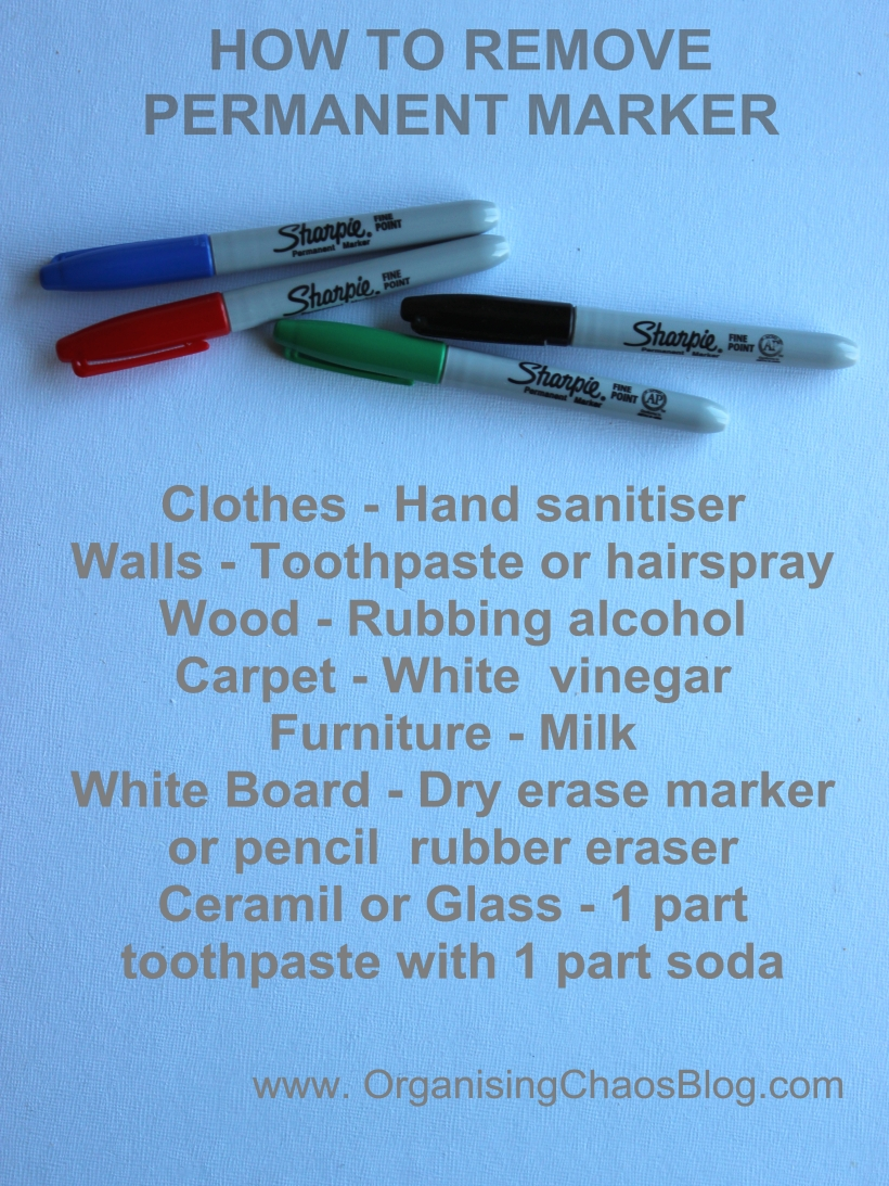 OrganisingChaosBlog - How To Remove Permanent Marker