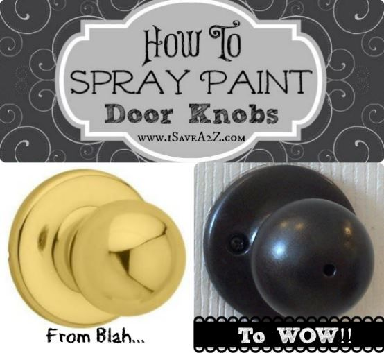 Update your house on a budget - Spray Painting Door knobs