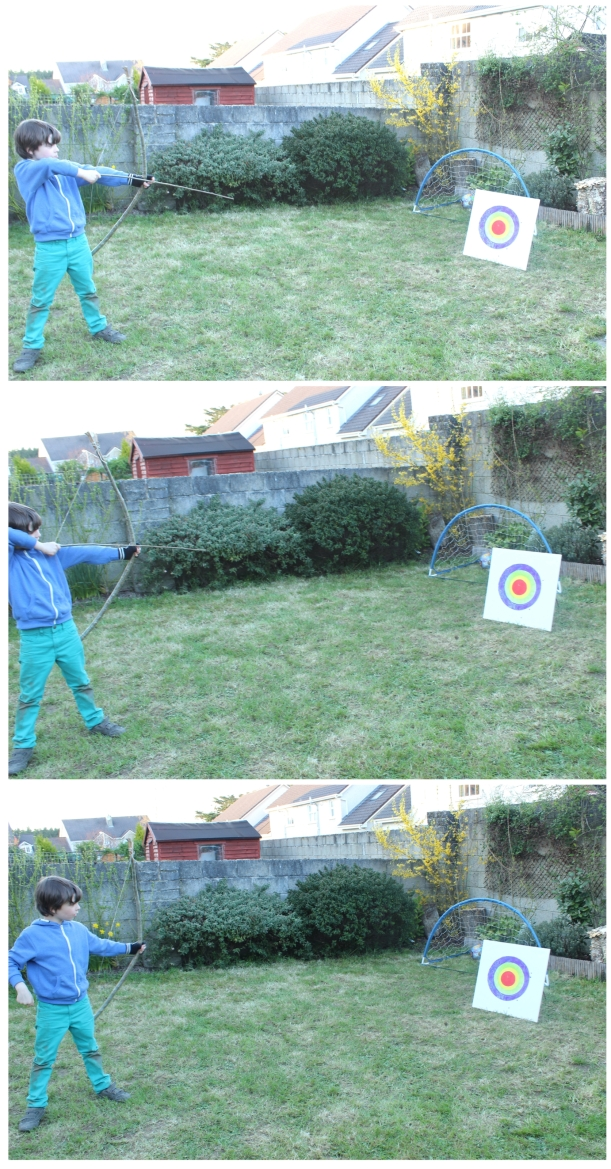 Homemade toys - a bow, arrows and a target