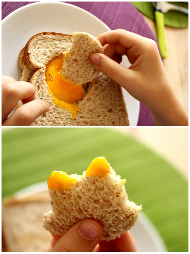 Dipping bread into the egg