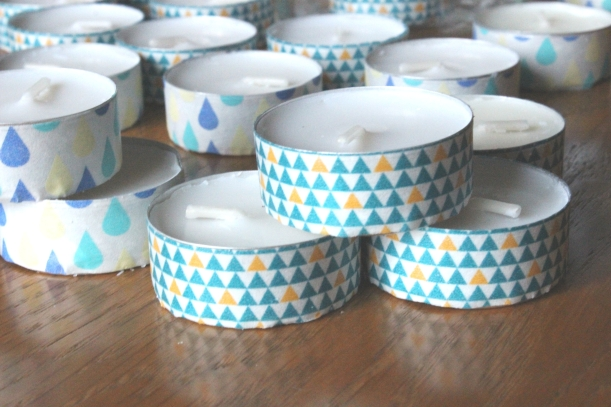Making easy decorations with candles and washi tape