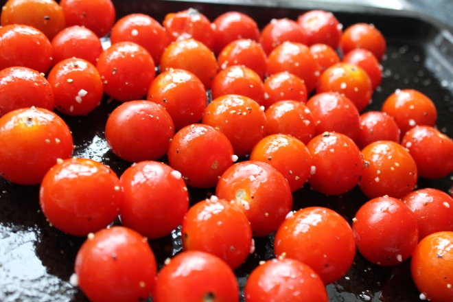 Oven-dried cherry tomatoes - so sweet!