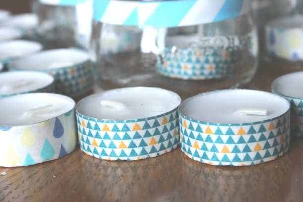 Making decorations with washi tape and candles